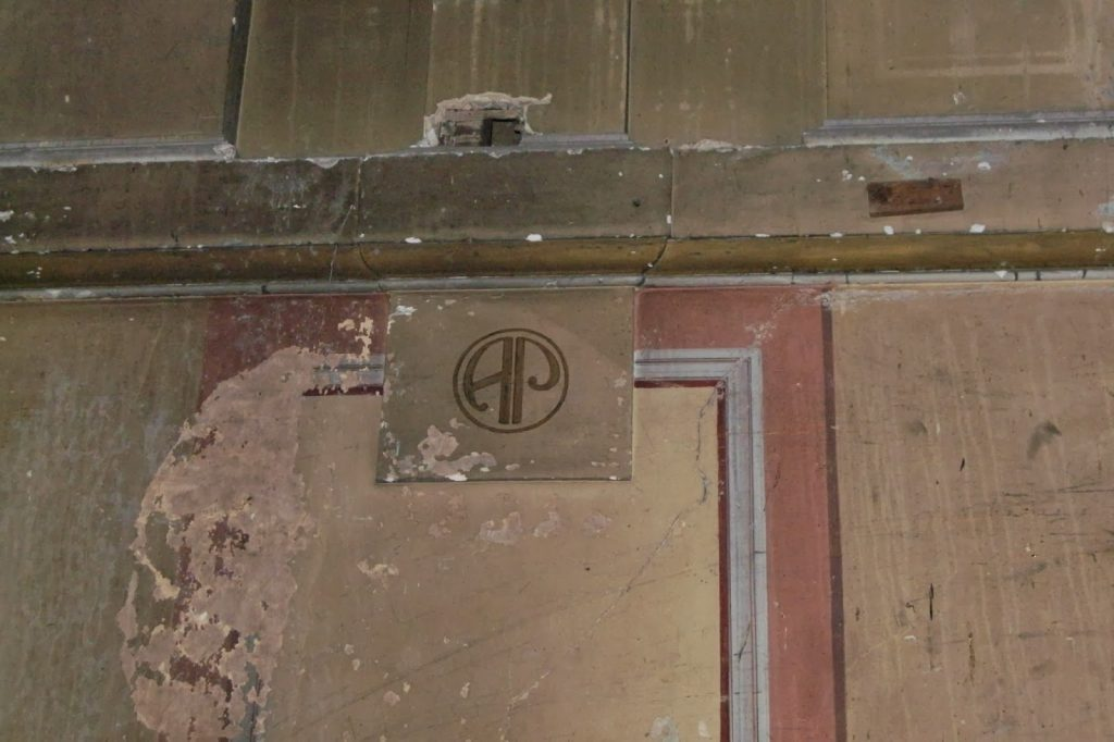 Alexandra Palace - Secret Theatre original painted walls , now peeling paint