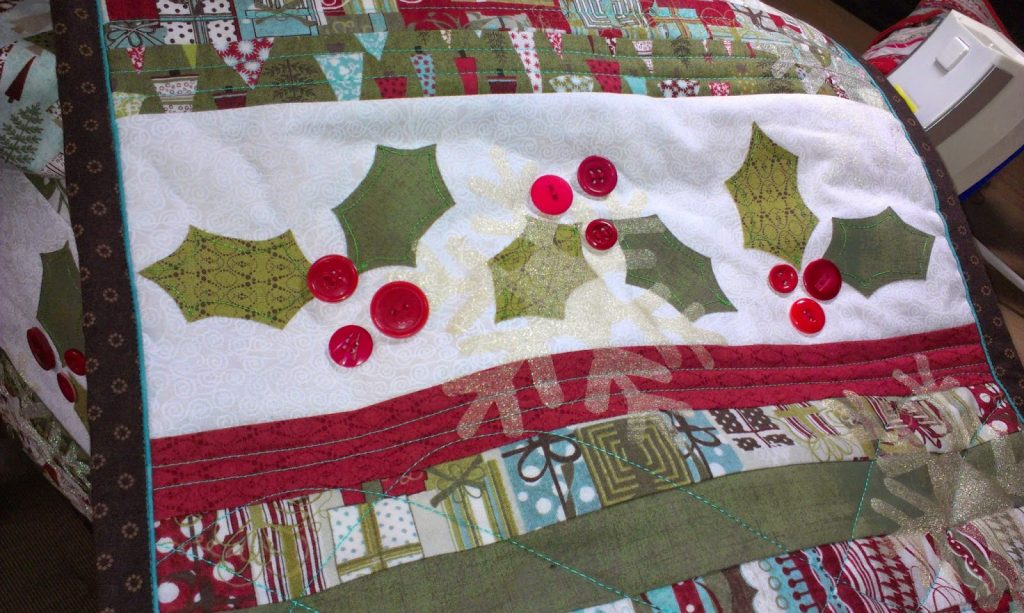 six foot Festive Table Runner with button detail