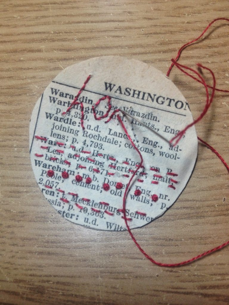 Vintage paper and my favourite red thread