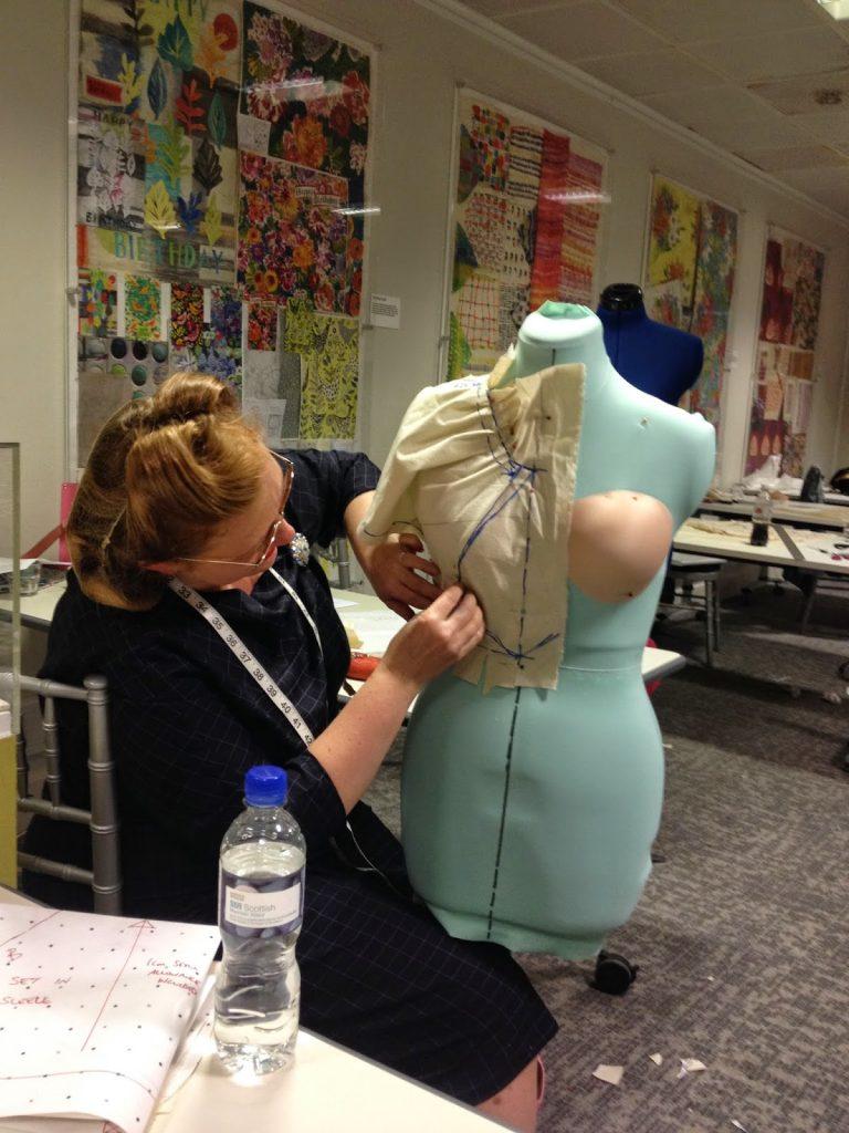 student a work - Dressmaking Workshop - pattern making on a mannequin