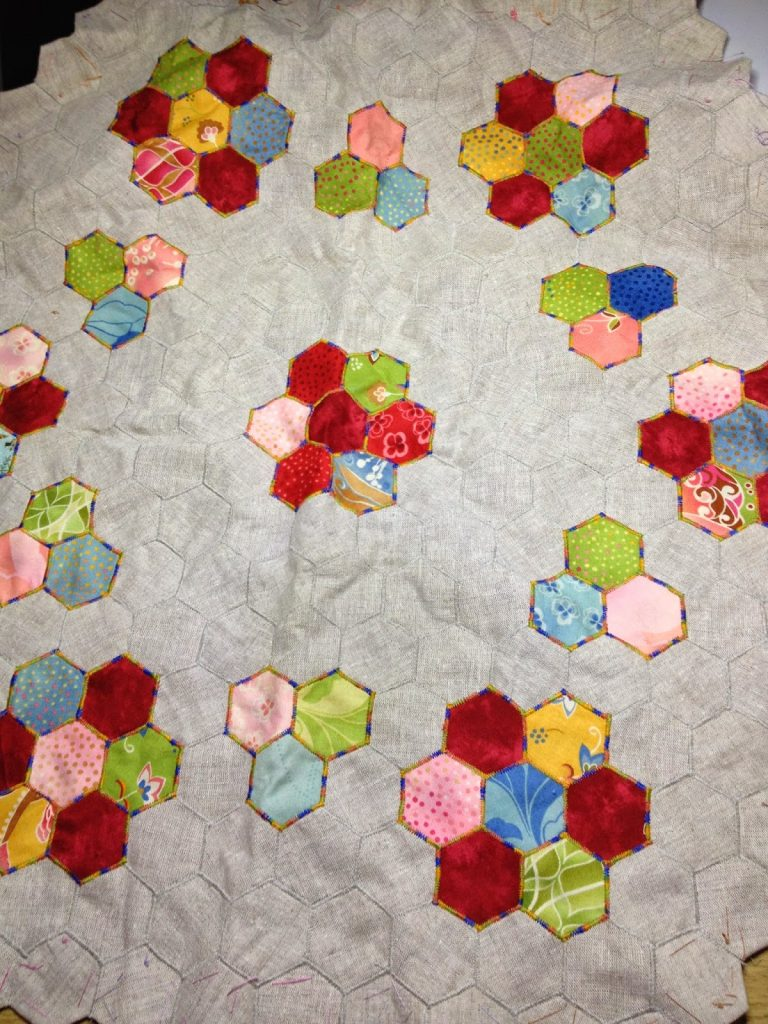 pieced hexagons ready to over dye
