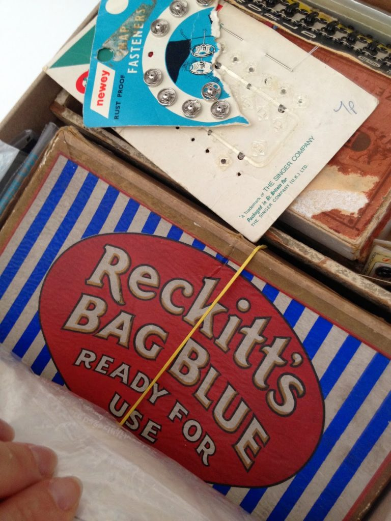 inspiration boxes full of sewing ephemera and vintage packaging
