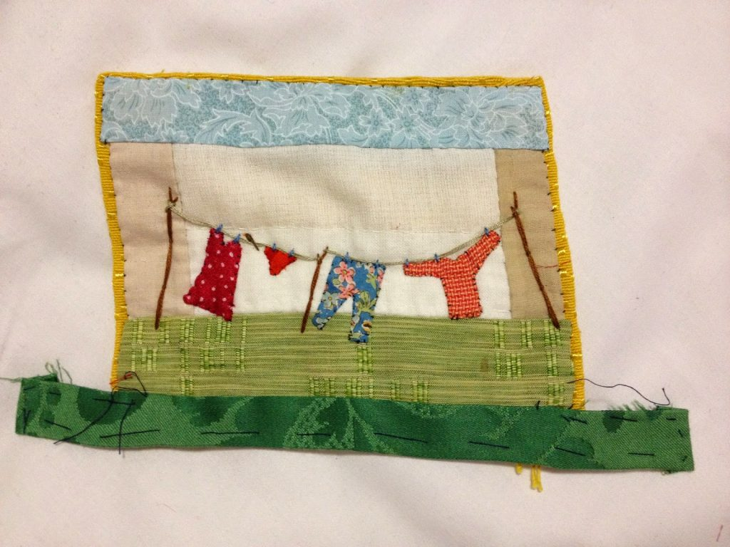 This was my little hand stitched piece made over the weekend.