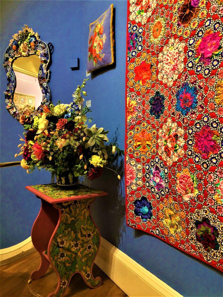 Kaffe Fassett quilt and mosaic mirror