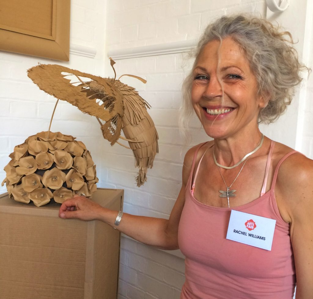 large moths and toadstools made from card by Rachel Williams.
