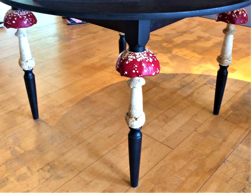 Mr Finch - The pieces are beautifully displayed, with attention to detail everywhere you look. There's even clay Toadstools embellishing the table legs.