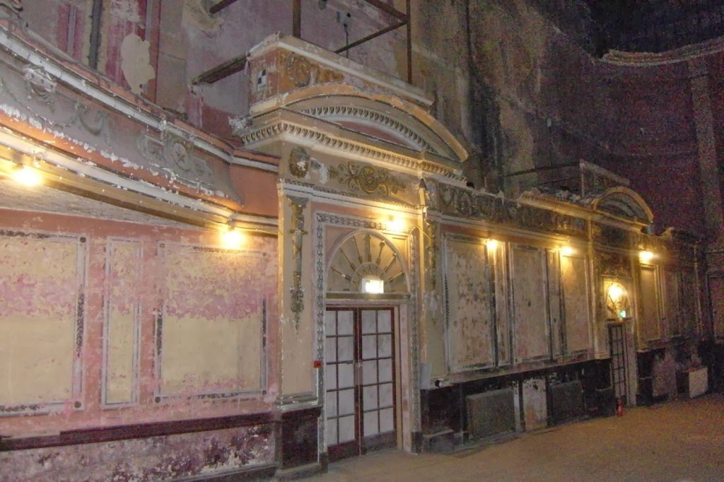 Alexandra Palace - Secret Theatre original painted walls , now peeling paint