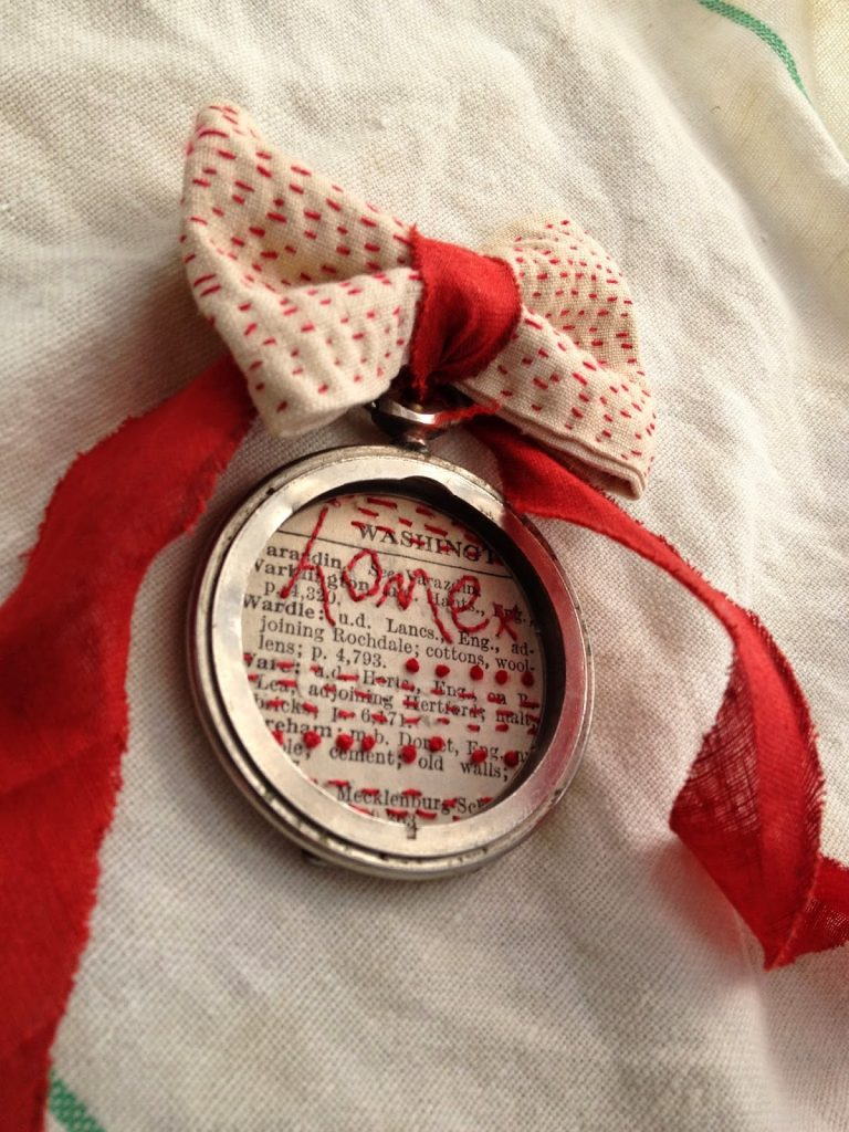 vintage textiles, vintage bias tape, vintage paper, vintage watch and red thread