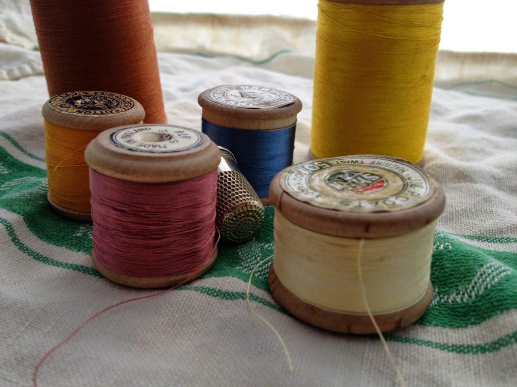 vintage, wooden cotton reel