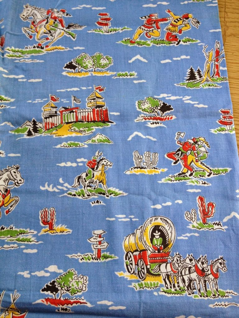 I remember my brother wearing pyjamas made from this cowboy fabric