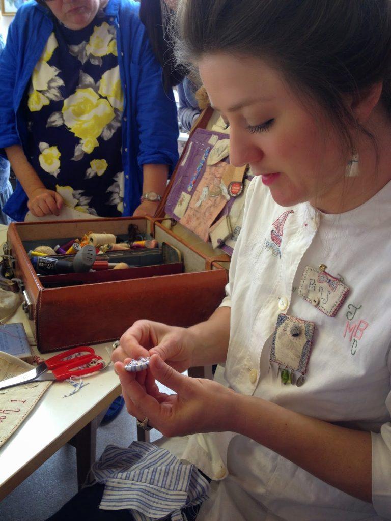 Jessie Chorley Stitching a button