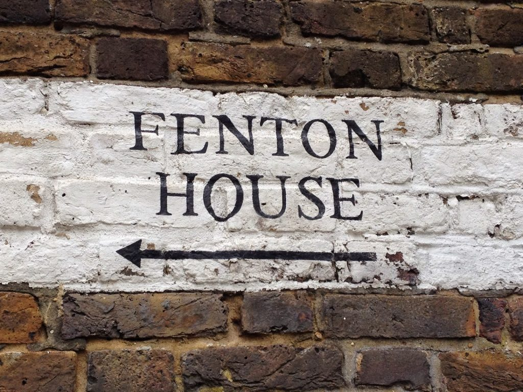 Open garden squares weekend - sign for Fenton House in Hampstead