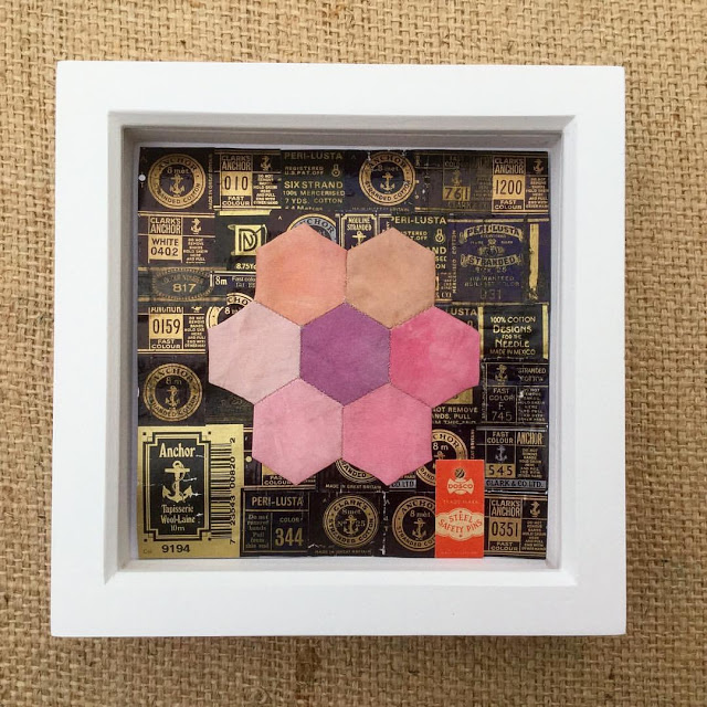 Embroidery  & Patchwork hexagon on thread labels
