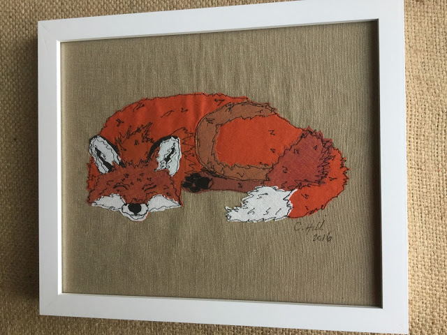 Embroidery  Stitched and Applique Fox - Framed and hanging on the wall