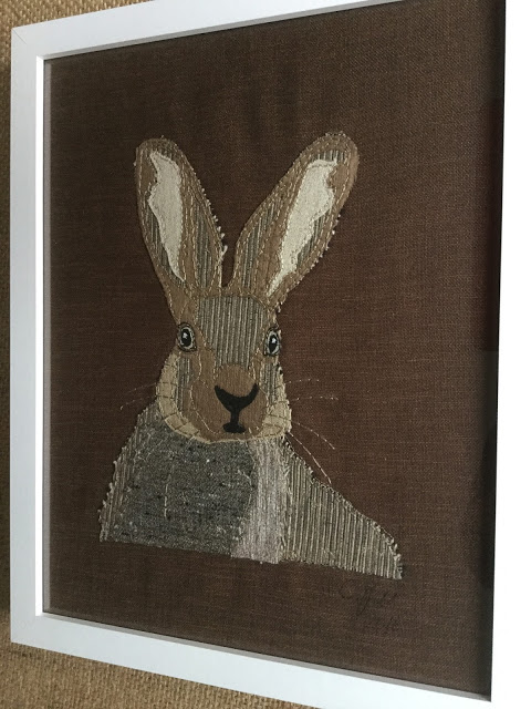 Embroidery Stitched Hare Framed and Mounted on the Wall