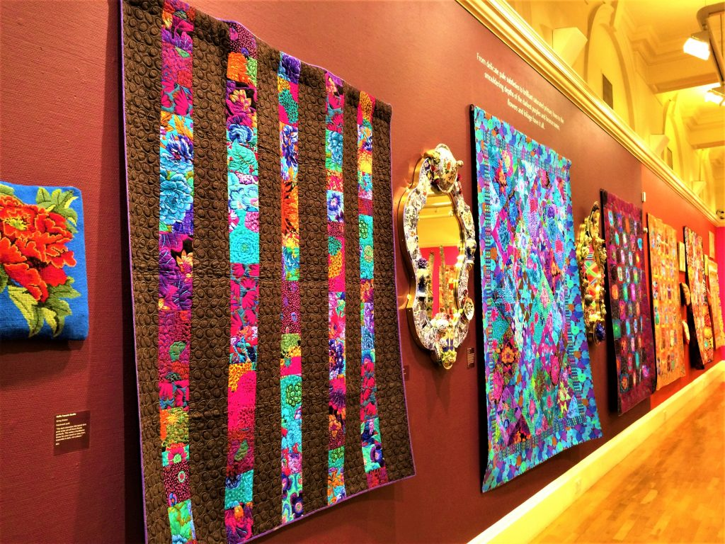 Kaffe Fassett quilts and mosaic mirrors