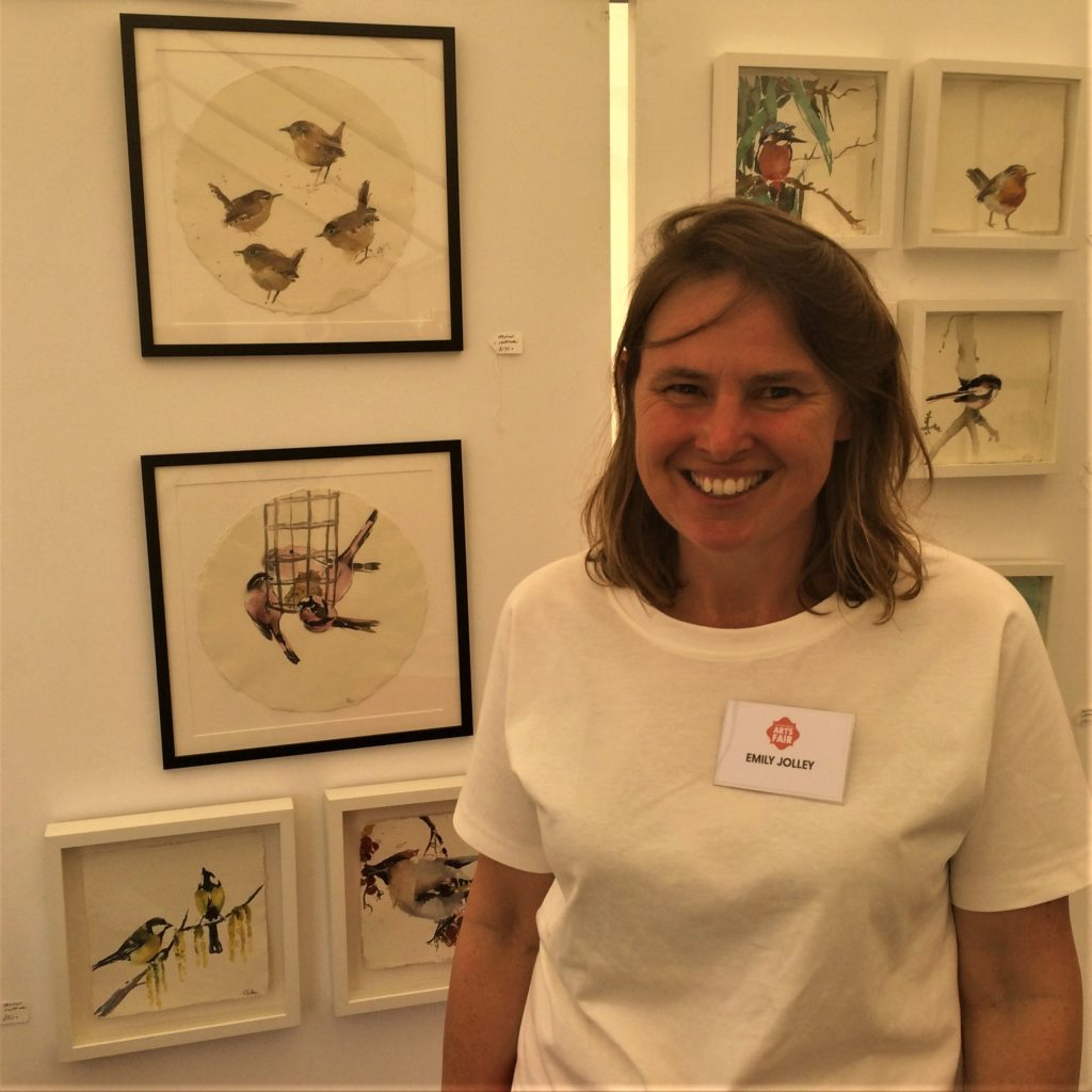 Emily Jolley, had brought along a beautiful flock of hand painted English birds.