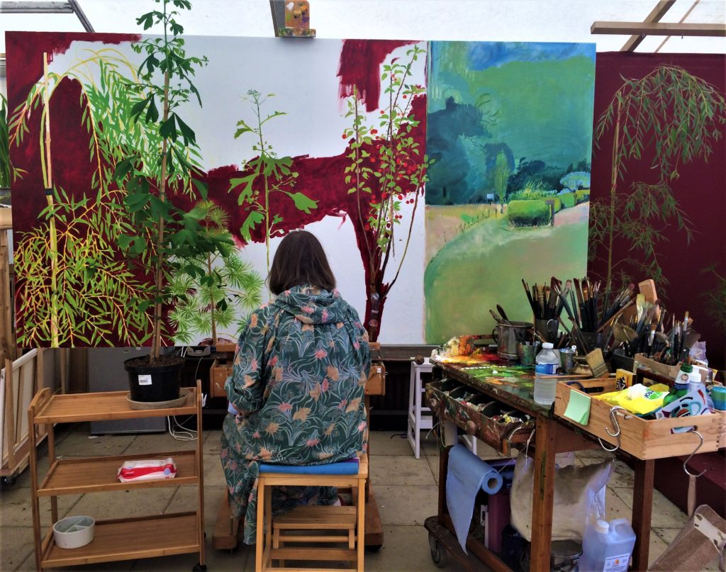 Christiane Kubrick  was slowly adding foliage to this canvas.