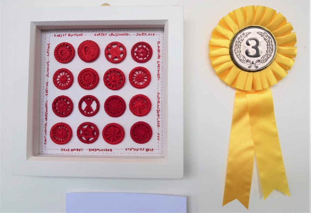 One of three prizes at the show - Third prize in the Traditional Embroidery for 'Dorset Button Study No. 2'.