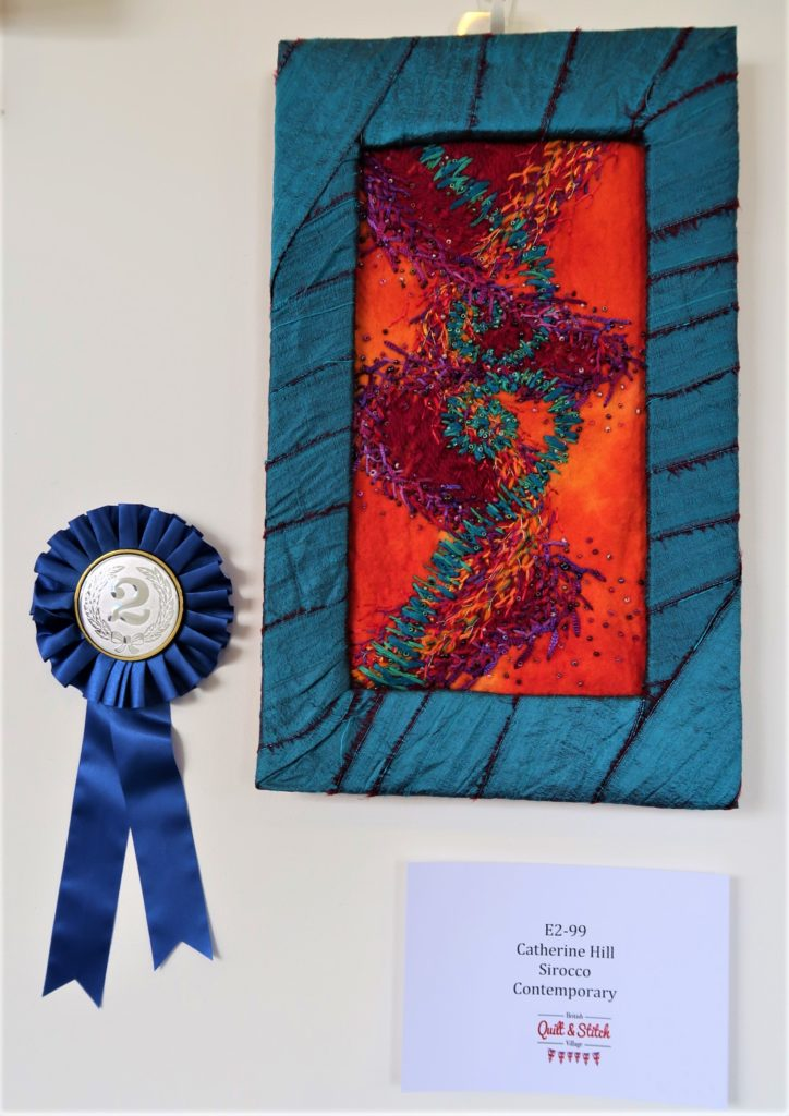 One of three prizes at the show - Second prize in the Contemporary Embroidery for 'Sirocco'