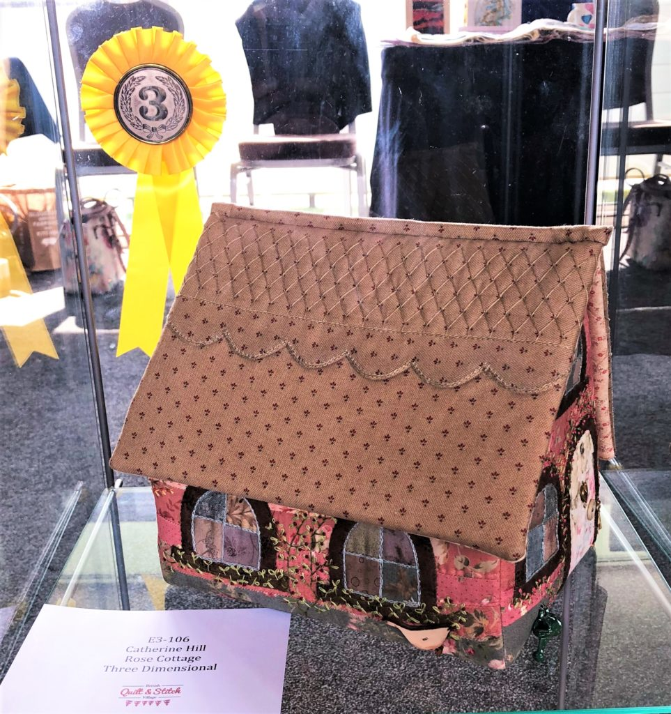 One of three prizes at the show - Third prize in the 3D Embroidery for Rose Cottage