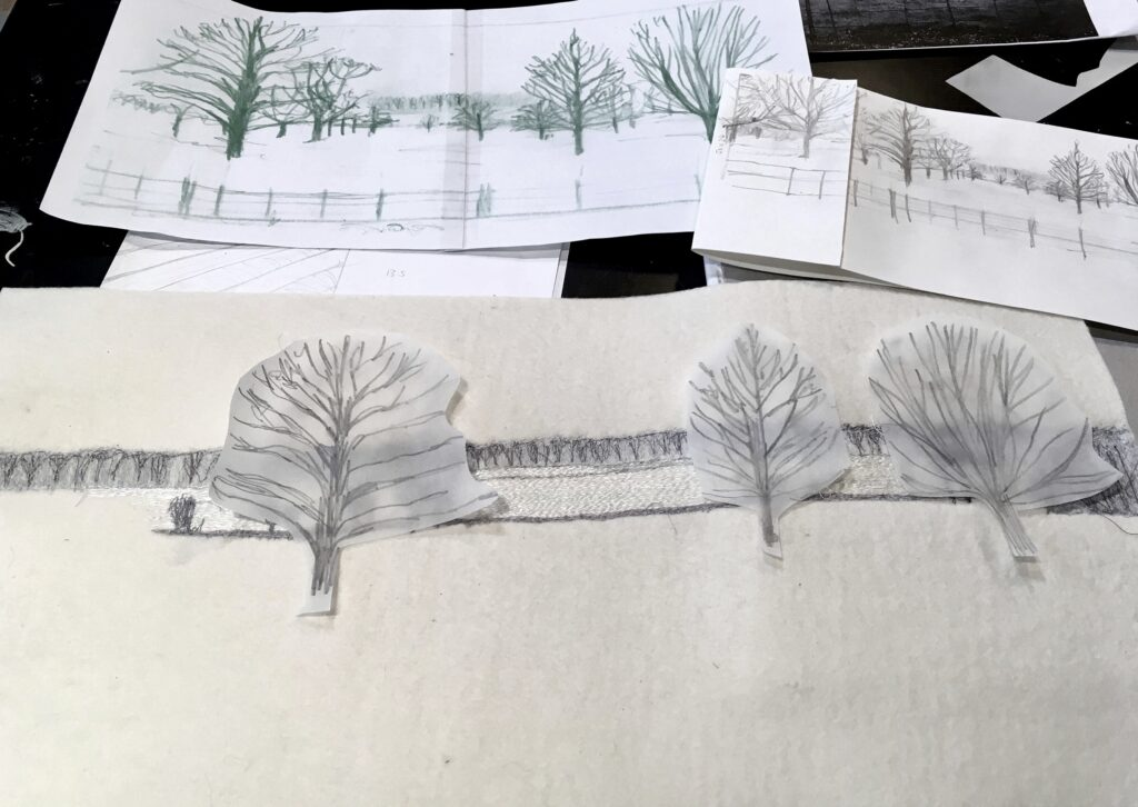 Work in progress - paper design ideas of trees by Sue Nicholls