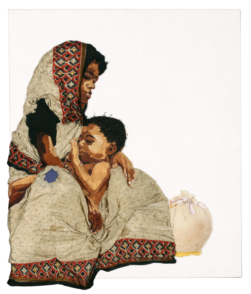 """Madonna and Child"" - A young woman and child, begging on the streets in India - in stitch"