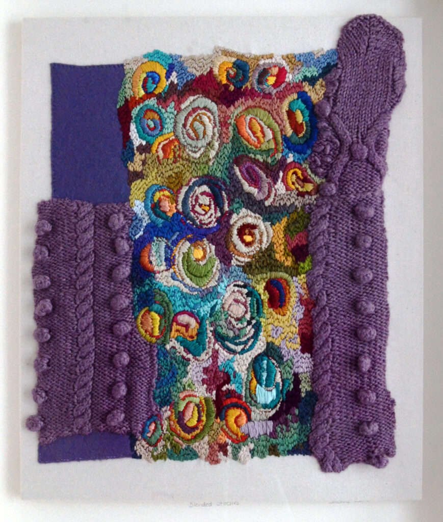 Blended Stitches. image showing parts of a purple jumper and embroidery - textile art created from old jumpers.