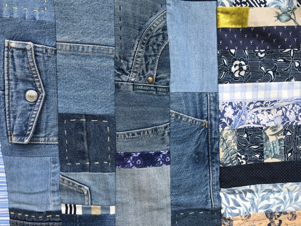 Inspired by Gees Bend - patchwork quilt made from old denim jeans and mixed salvaged  cloth