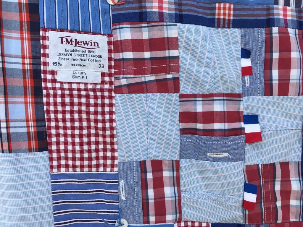 Patchwork made from old cotton shirts - pockets, plackets, labels and cuffs are made into patchwork
