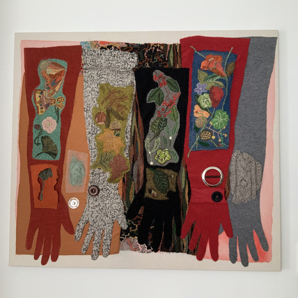 image showing five shapes of long gloves - textile art created from old jumpers.