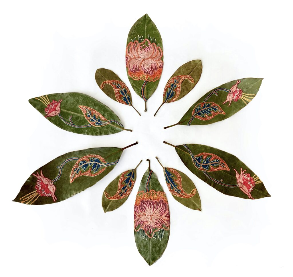 'Caught in Spring' - hand embroidered leaves by Hillary Waters Fayle