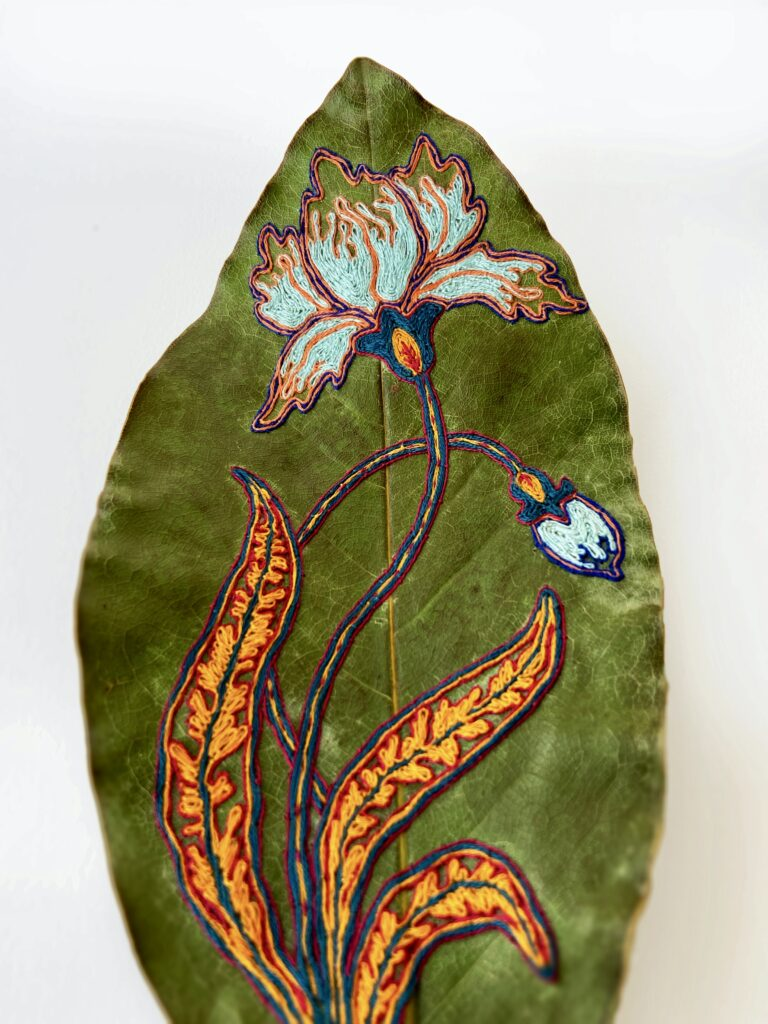 'Blue Iris' - hand embroidered leaves by Hillary Waters Fayle