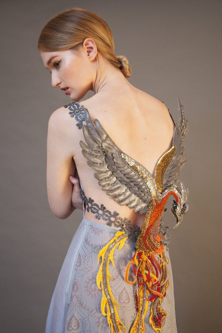 'Rising from the Ashes' couture dress created by Claire Edwards. The Phoenix is all hand beaded.