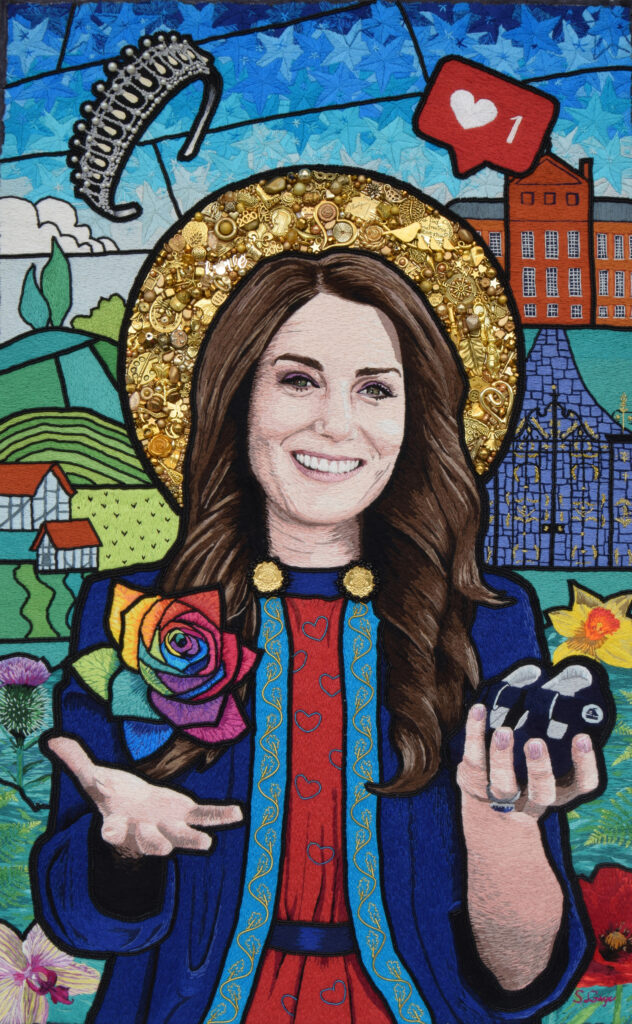 Hand beaded and Hand embroidered image of the Duchess of Cambridge