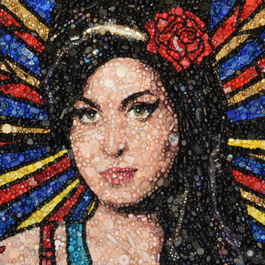 Hand beaded and Hand embroidered image of Amy Winehouse
