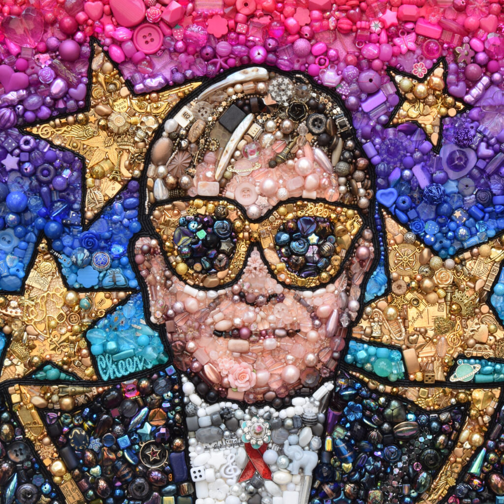 Hand beaded and hand embroidered image of Elton John by artist Sarah Gwyer
