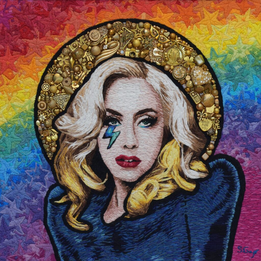 Hand beaded and Hand embroidered image of Lady Gaga