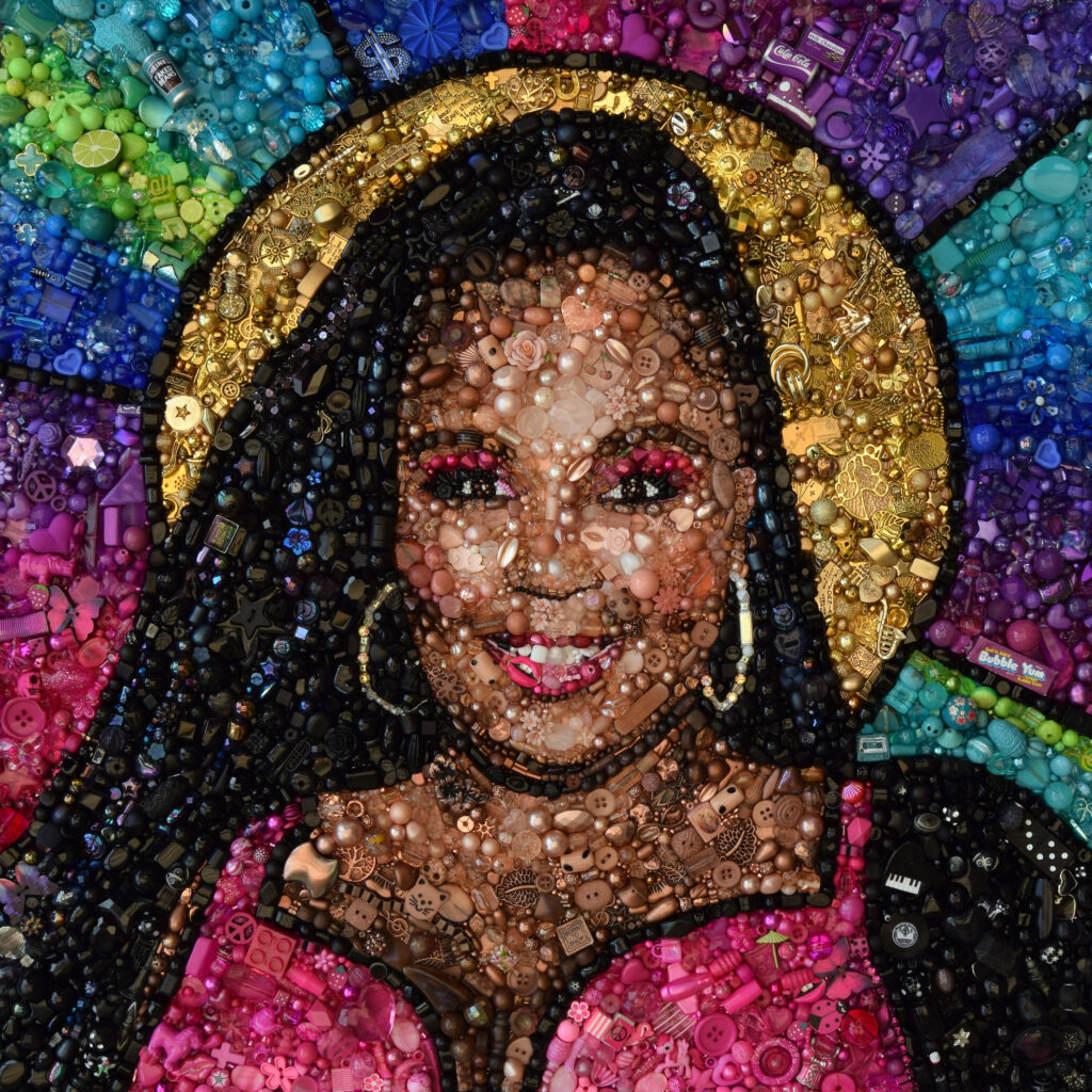 Hand beaded and hand embroidered image of Lizzo by artist Sarah Gwyer