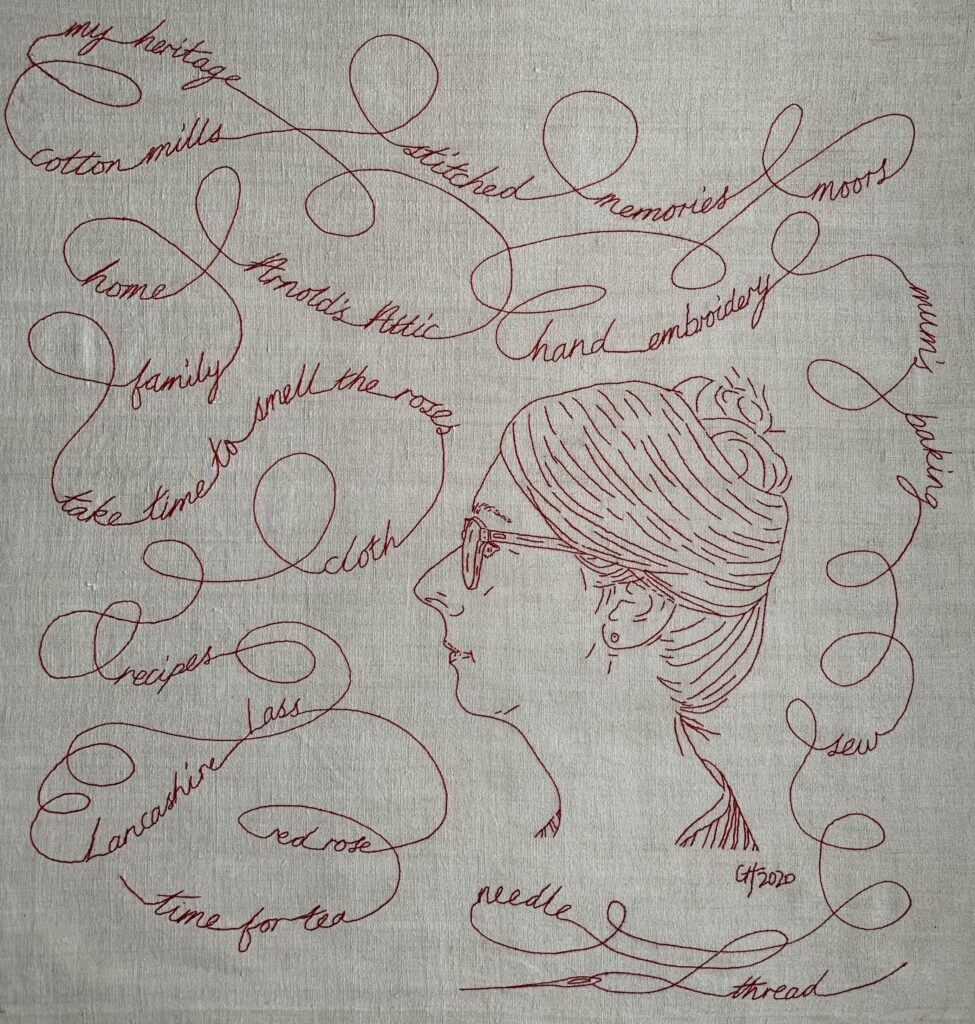 hand embroidered Self Portrait exhibition submission