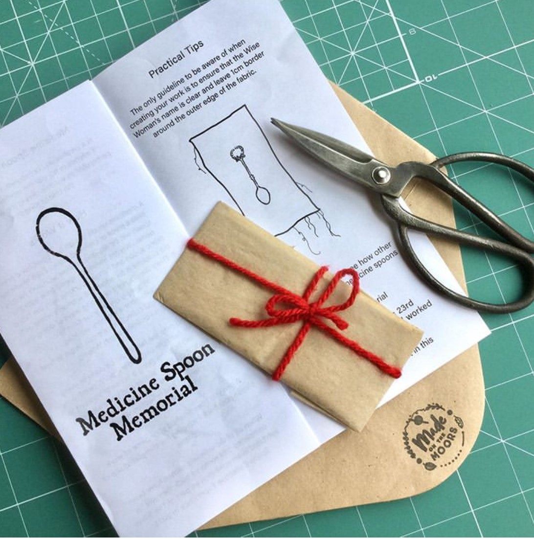 The Medicine Spoon Memorial - stitch project dedicated to the women persecuted as 'witches' - Getting ready to start stitching