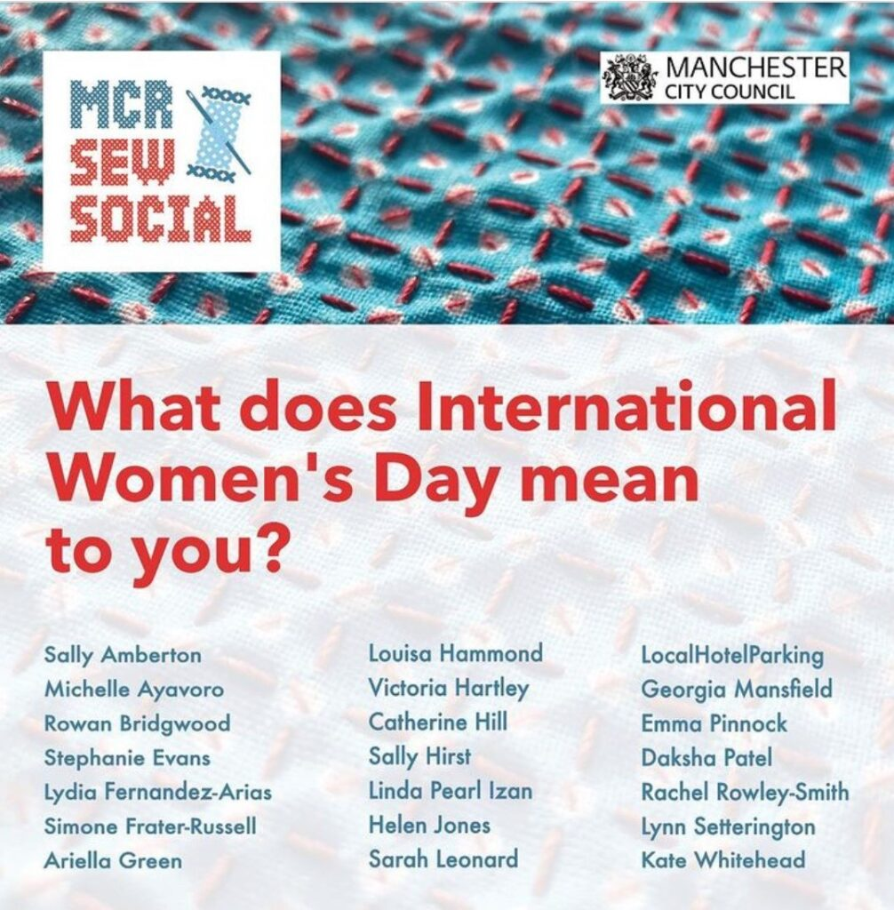 Manchester Sew Social poster showing exhibiting artists