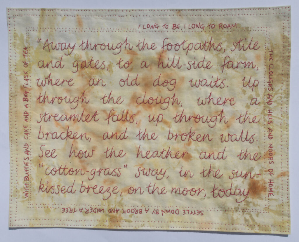 Moors of Home - red hand embroidered words of a lancashire poem onto cotton cloth