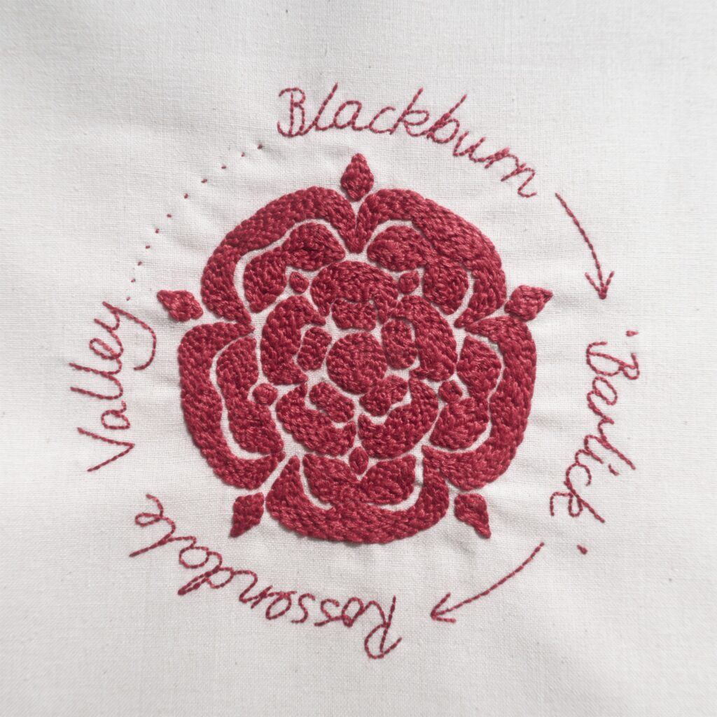 Stitch Your Story Exhibition hand embroidered red Lancashire rose