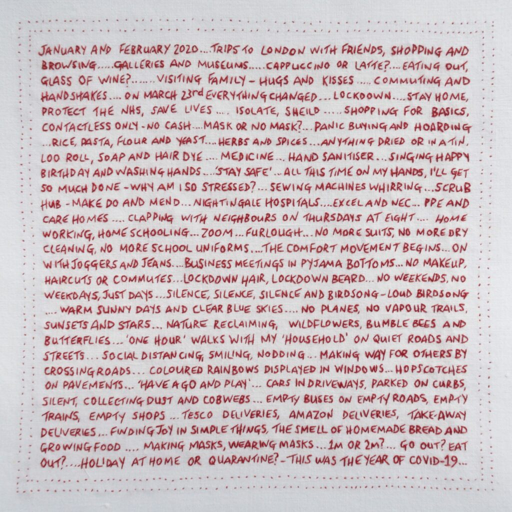 Embroidered text sharing a personal journey through Lockdown 2020 New Grooves Exhibition in Notting Hill