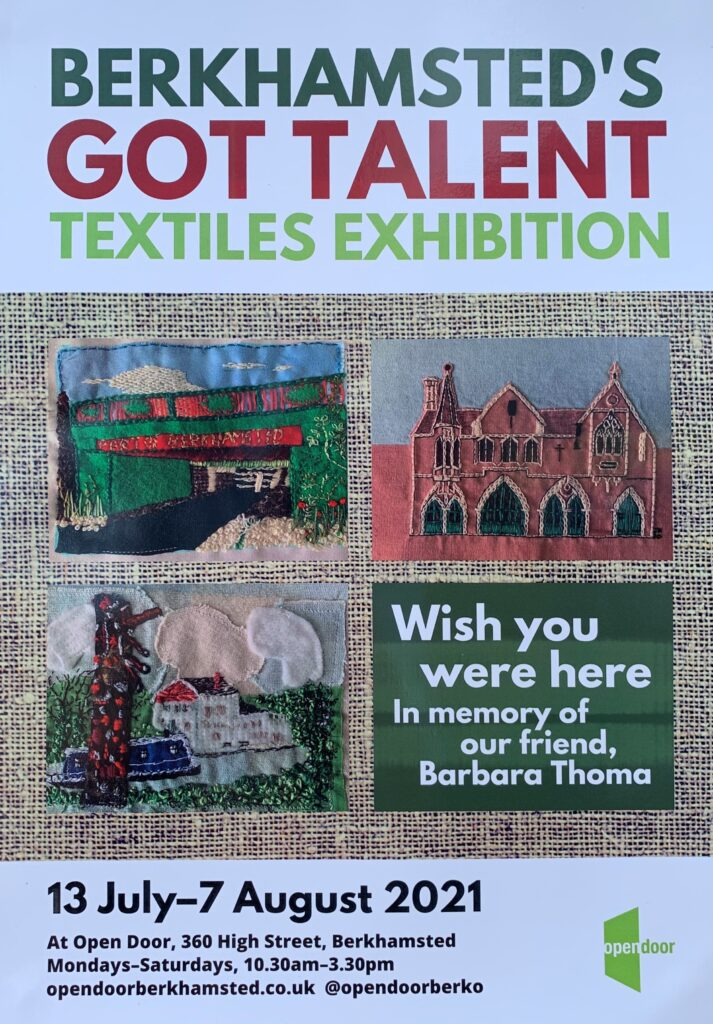 Open Door Textiles Exhibition - exhibition poster featuring hand embroidered images of berkhamsted's buildings