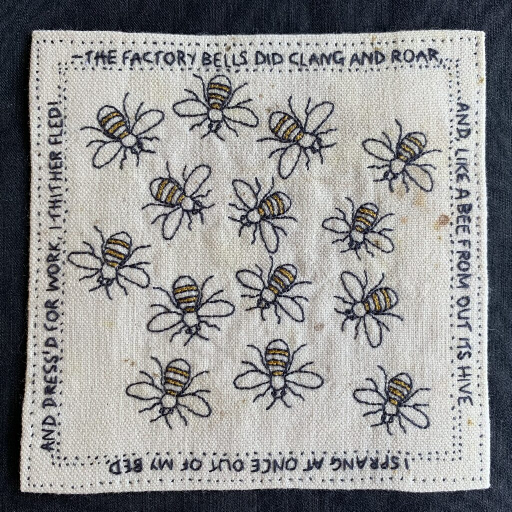 Worker Bees -hand embroidered in vintage threads in yellow and slate grey