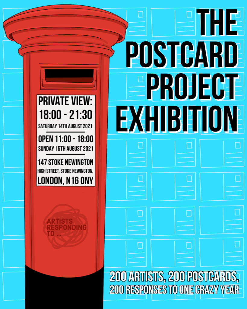 Postcard Project Exhibition Poster showing a blue background with a red post box and details and dates of the exhibition