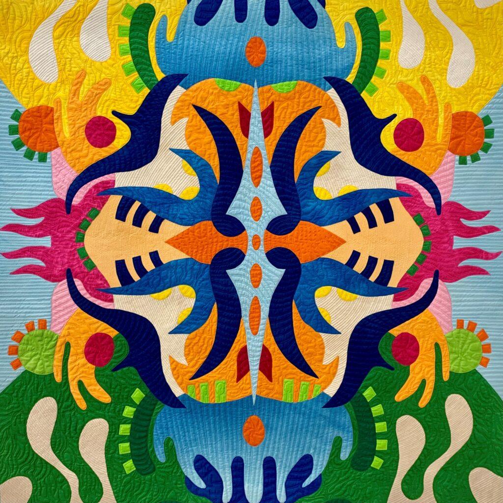 Multicolured applique Artwork by Sheila Frampton-Cooper