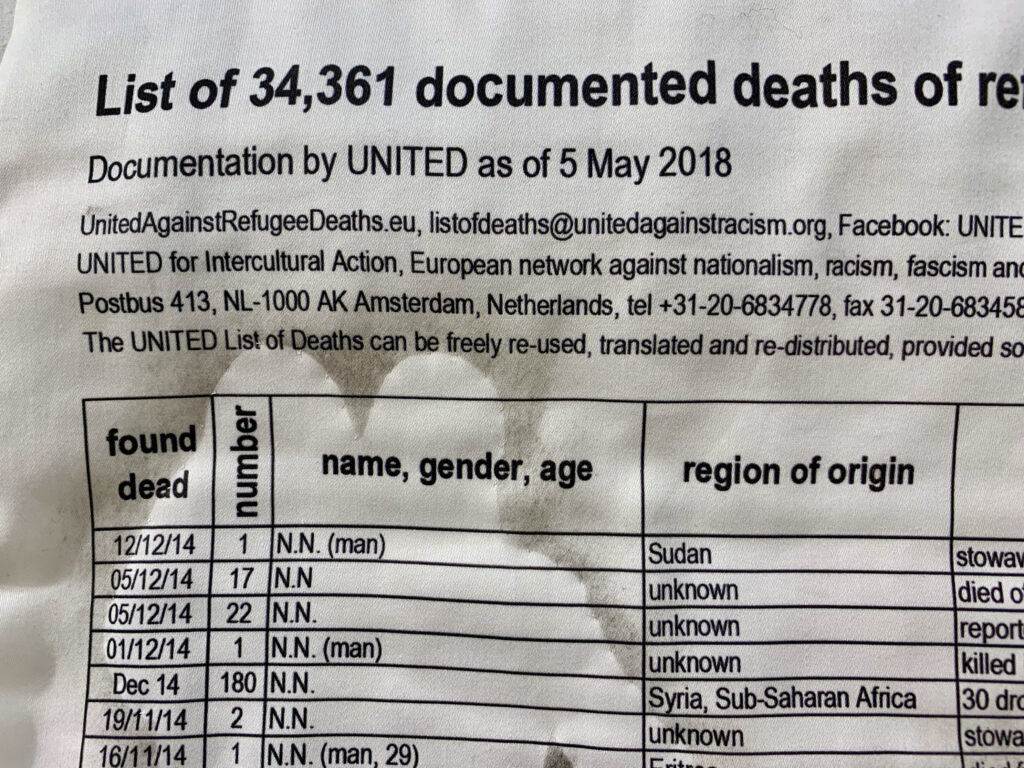 Artwork by Sabi Westoby - Names , numbers of deaths and cause of death - The List - priinted onto cotton cloth and embroidered